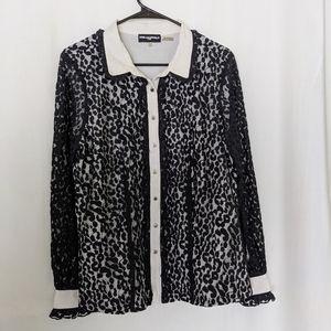 Karl Lagerfeld Black Lace Long Sleeve Top